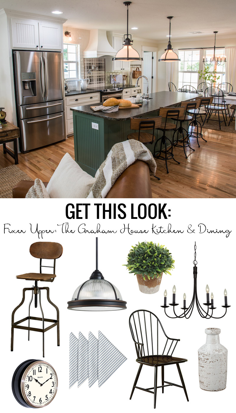 How to Get The Look of the Fixer Upper Graham House Kitchen And Dining. Loving the modern farmhouse vibe in this beautiful white kitchen with green island and black and wood accents.