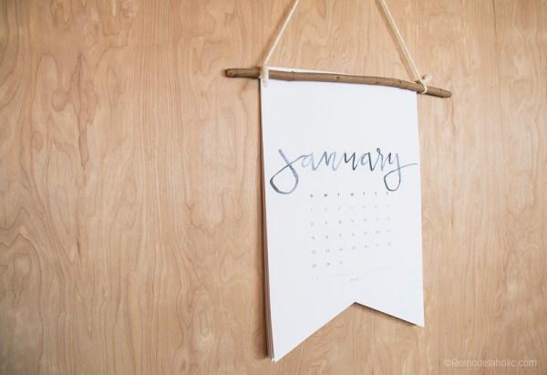 Hand Lettered Calendar 2017