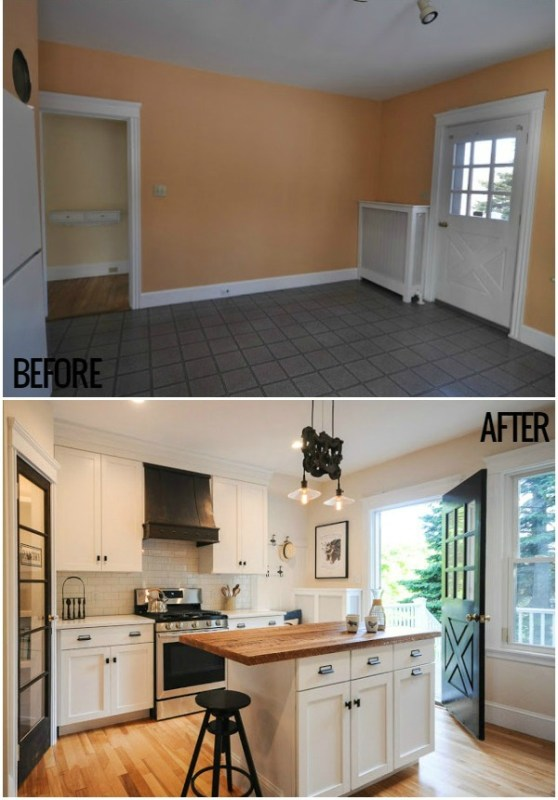 Bungalow Kitchen Renovation Before And After Featured On @Remodelaholic Crop