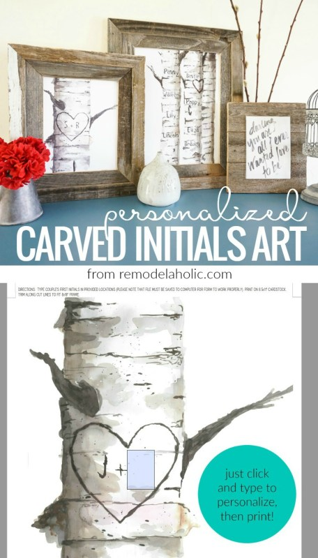 Crop Free Personalized Birch Tree Carved Initials Art Print Set From @Remodelaholic