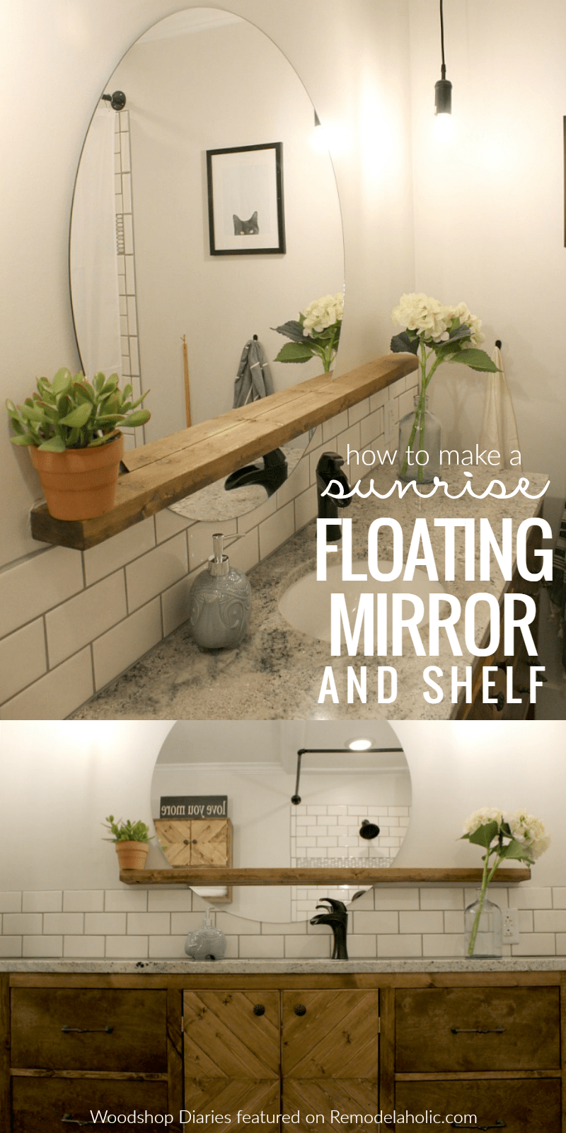 Give An Inexpensive Basic Round Mirror A Modern Update With This DIY  Sunrise Floating Mirror And