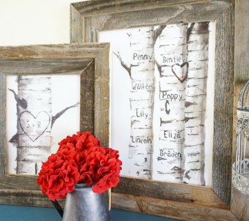 Free Printable Birch Tree Art Prints with Custom Carved Initials