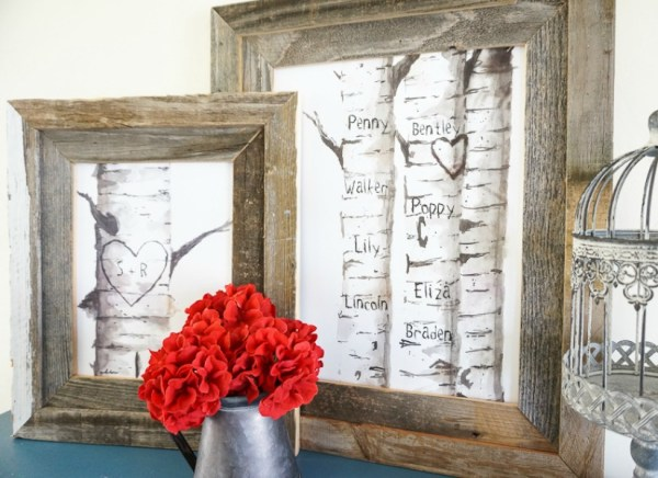 Printable Birch Tree Art With Custom Carved Initials @Remodelaholic