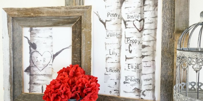Printable Birch Tree Art Prints with Custom Carved Initials