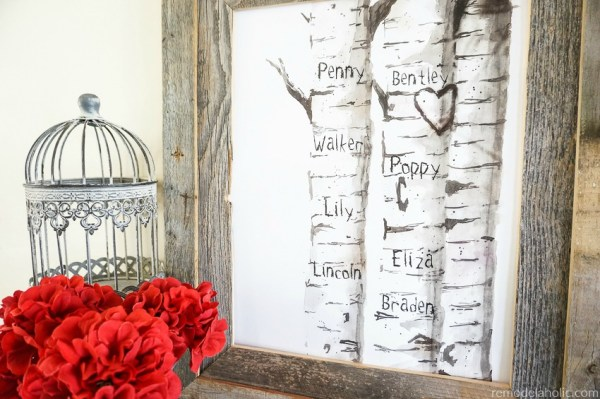 Free Printable Watercolor Birch Tree Art With Custom Carved Initials For Family Or Children's Names @Remodelaholic