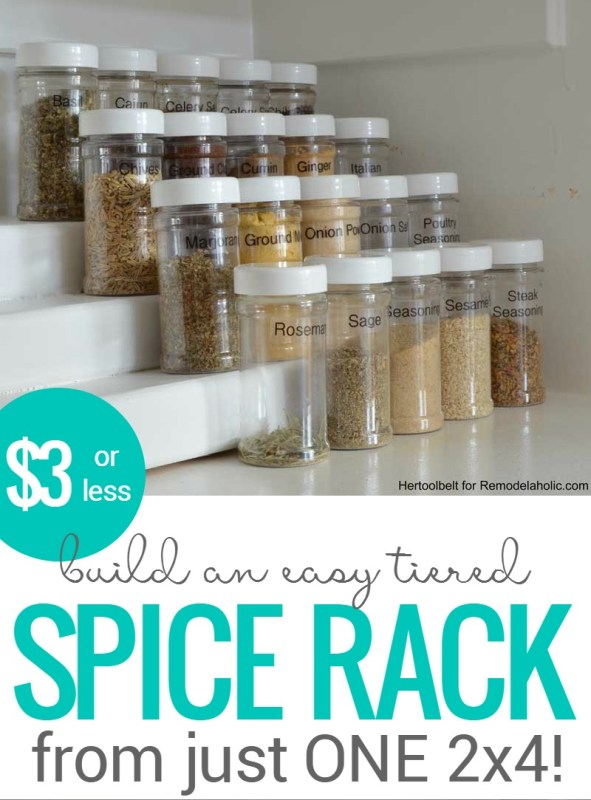 How To Build An Easy Tiered Spice Rack For Three Bucks Or Less | pantry organizing | simple building plan | DIY tutorial