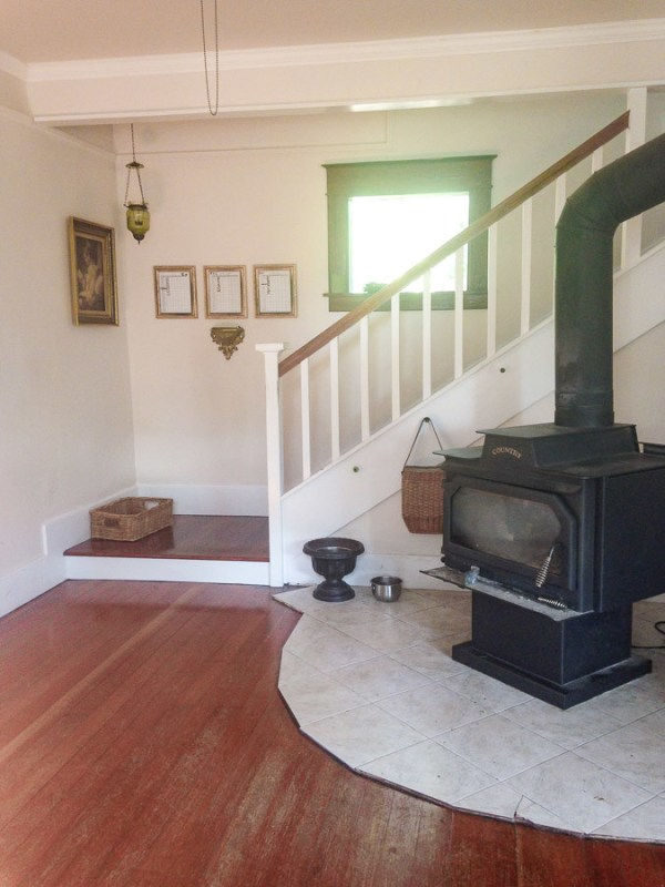 2 How To Update Your Hearth, Tile To Concrete Hearth, Before By She Holds Dearly Featured On @Remodelaholic