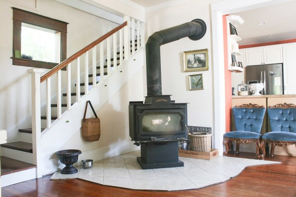 3 Tutorial For Tile To Concrete Hearth, Before And After By She Holds Dearly Featured On @Remodelaholic