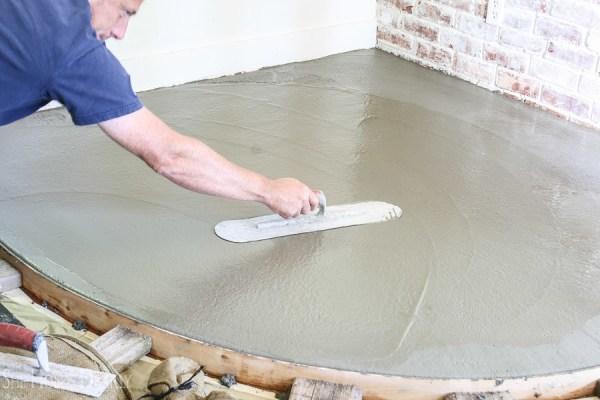 9 Concrete Hearth Over Tile, A Diy Tutorial By She Holds Dearly Featured On @Remodelaholic