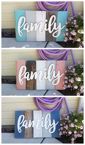DIY Family Word Art Sign Woodworking Project Tutorial 3 Color Schemes Of New Wood Distressed To Look Like Weathered Barn Wood Home Decoration