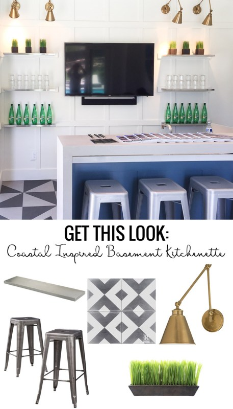 Get tips and tricks for achieving this Coastal Inspired Basement Kitchenette in your own home! We love the white board and batten grid wall, navy blue island, gold sconces and floating shelves!