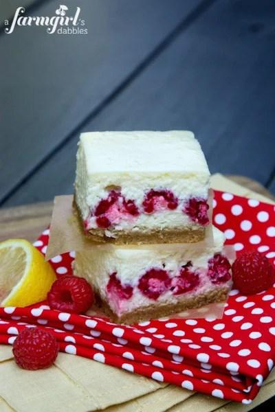 Lemon Cheesecake Bars With Raspberries
