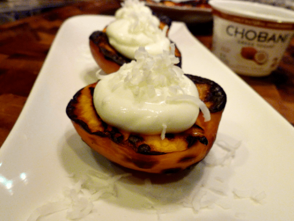 If it is a fruit, you should probably try grilling it, like these Grilled Nectarines with Whipped Coconut Chobani by The Baking Fairy.