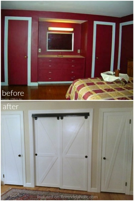 Before And After DIY Closet And Bypass Closet Doors Turned Faux Sliding Barn Doors Featured On @Remodelaholic