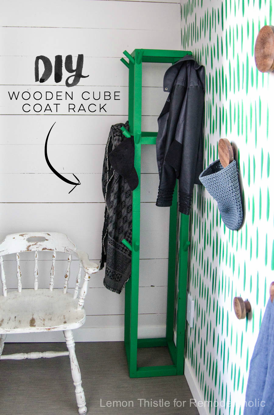 ... I Love This DIY Wooden Coat Rack  The Cube Shape And Green Paint Is So