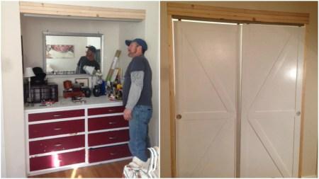 Faux Barn Door Closet Bypass Doors Featured On @Remodelaholic