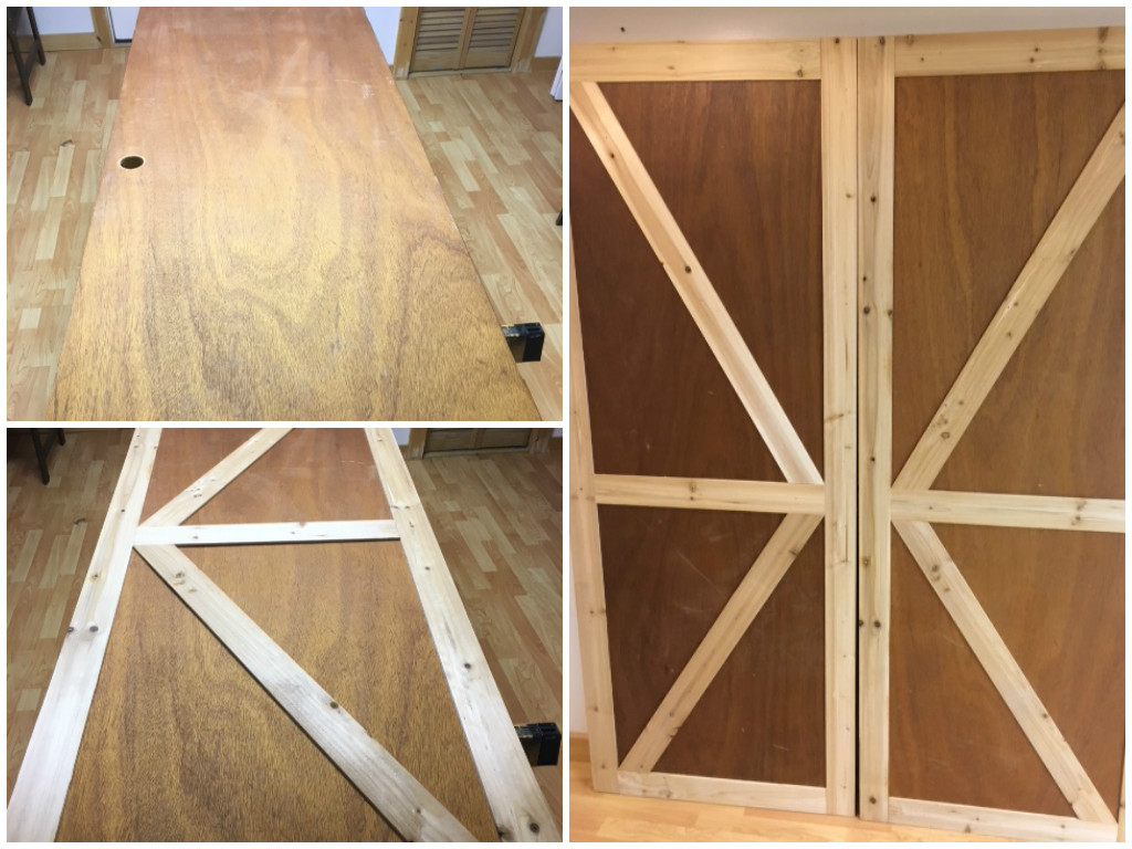 Faux Barn Door Closet Featured On @Remodelaholic & Remodelaholic | How to Make Bypass Closet Doors Into Sliding Faux ...