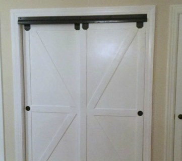 Feat Faux Barn Door Closet Door Makeover Featured On @Remodelaholic Edit