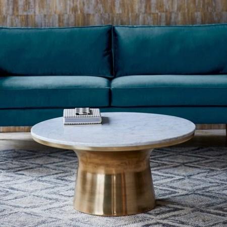 Neutral Living Room Marble Pedestal Coffee Tabl