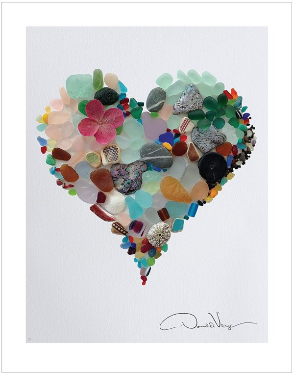 Non Traditional Valentine's Day Art Print, Seaglass Heart