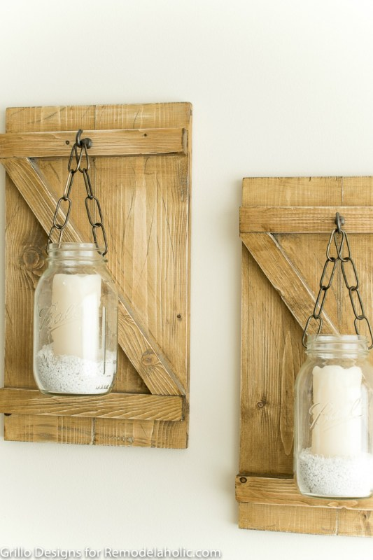 Weathered Wood Mason Jar Candle Hangers | How To Make A Rustic Hanging Mason Jar Candle Holder or Vase | Farmhouse Style Wall Decor | DIY Tutorial