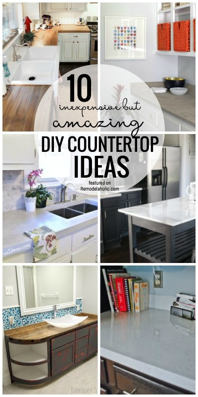 10 Inexpensive But Amazing DIY Countertop Ideas Featured On Remodelaholic.com