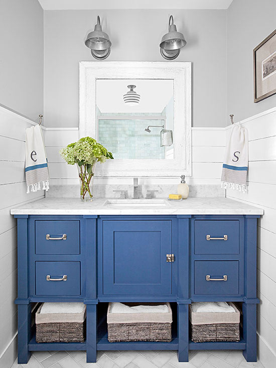 Bold Colorful Bathroom Inspiration | Blue Vanity with Shiplap