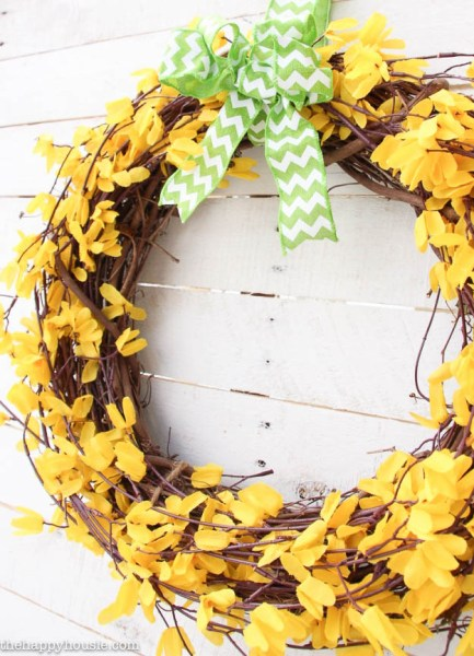 Five Minute Dollar Store Spring Forsythia Wreath At The Happy Housie 8