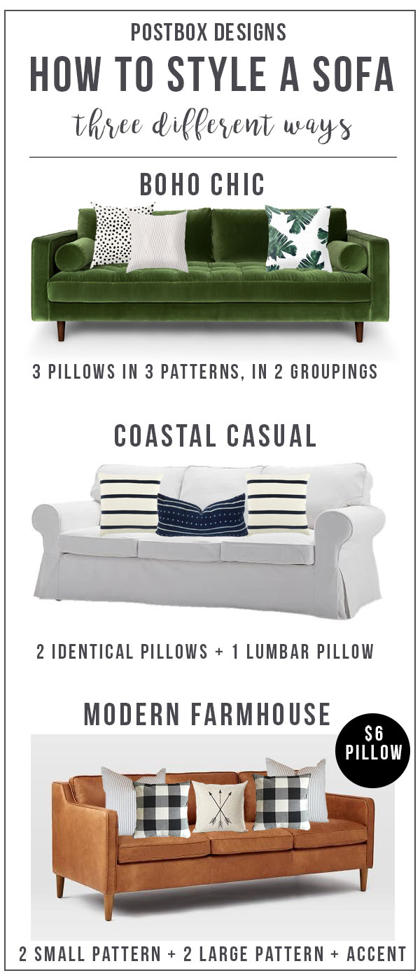 Sofa Round Up + Sofa Styling Guide by Postbox Designs E-Desig