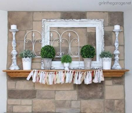 IMG 6300 White Green Spring Mantel Decor