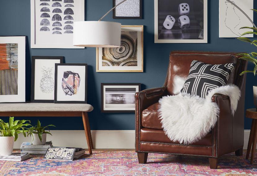 Pink Vintage Style Rug In A Navy Blue Room Via Wayfair