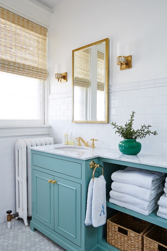 Bold Colorful Bathroom Inspiration | Turquoise Bathroom Vanity. Amie Corley Interiors.1