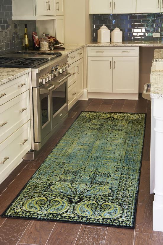 Vintage Style Runner In A White Kitchen Via Wayfair