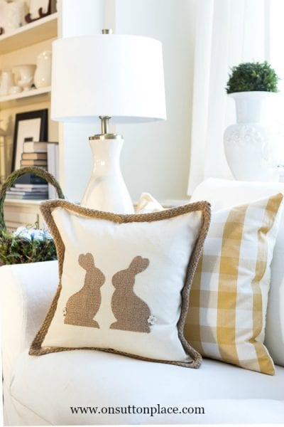 Burlap Easter Bunny Pillow Easy
