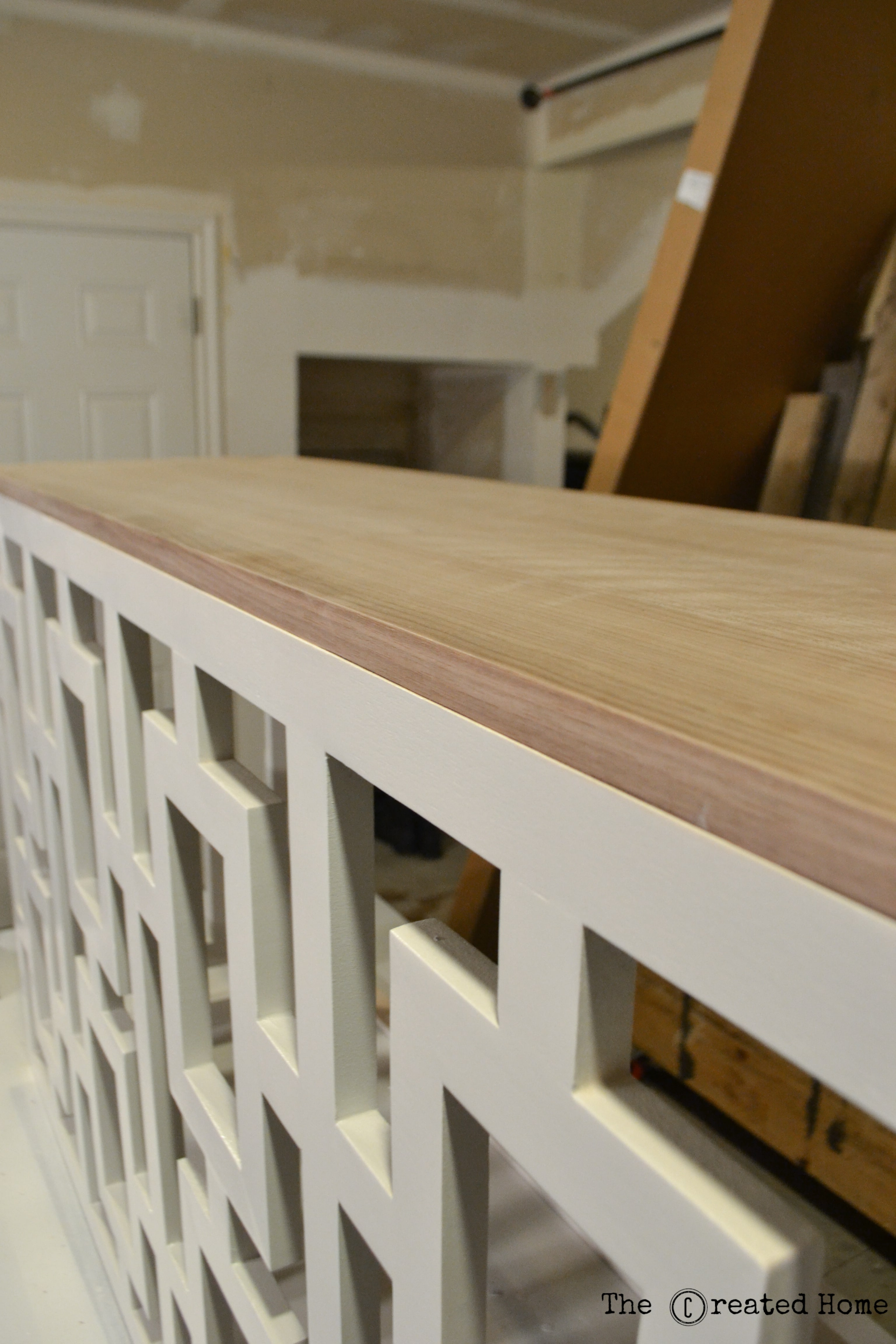 16 DIY Walnut Veneer Plywood Console Table With Fretwork Sides By The Created Home Featured & Remodelaholic | DIY Fretwork Table with Walnut Plywood Top