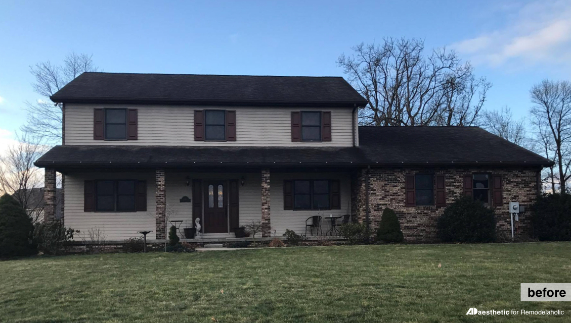 Before   Adding curb appeal to a two story home