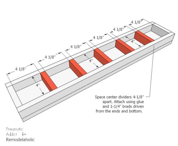 Long Wood Glass Centerpiece Center Dividers WM