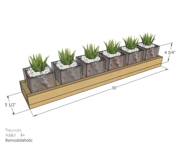 Long Wood Glass Centerpiece Dimensions WM