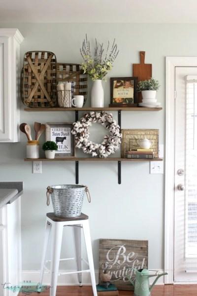 How To Decorate Shelves Farmhouse Kitchen 2