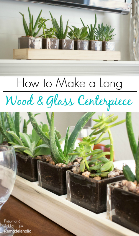 How to make a long wood and glass planter centerpiece | Easy to build and perfect for mantels, dining tables, or wedding centerpieces | Full video tutorial and building plan at Remodelaholic.com