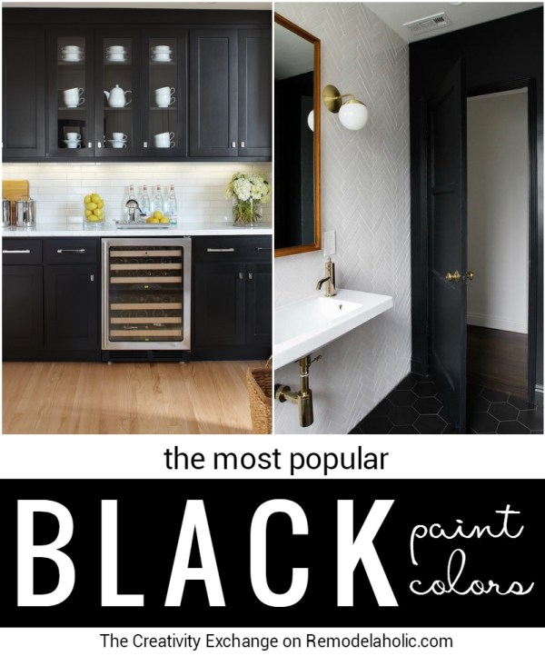 Black is classic and far from being drab or boring. Add drama and interested to your home with these popular black paint colors for cabinets, doors, and walls.