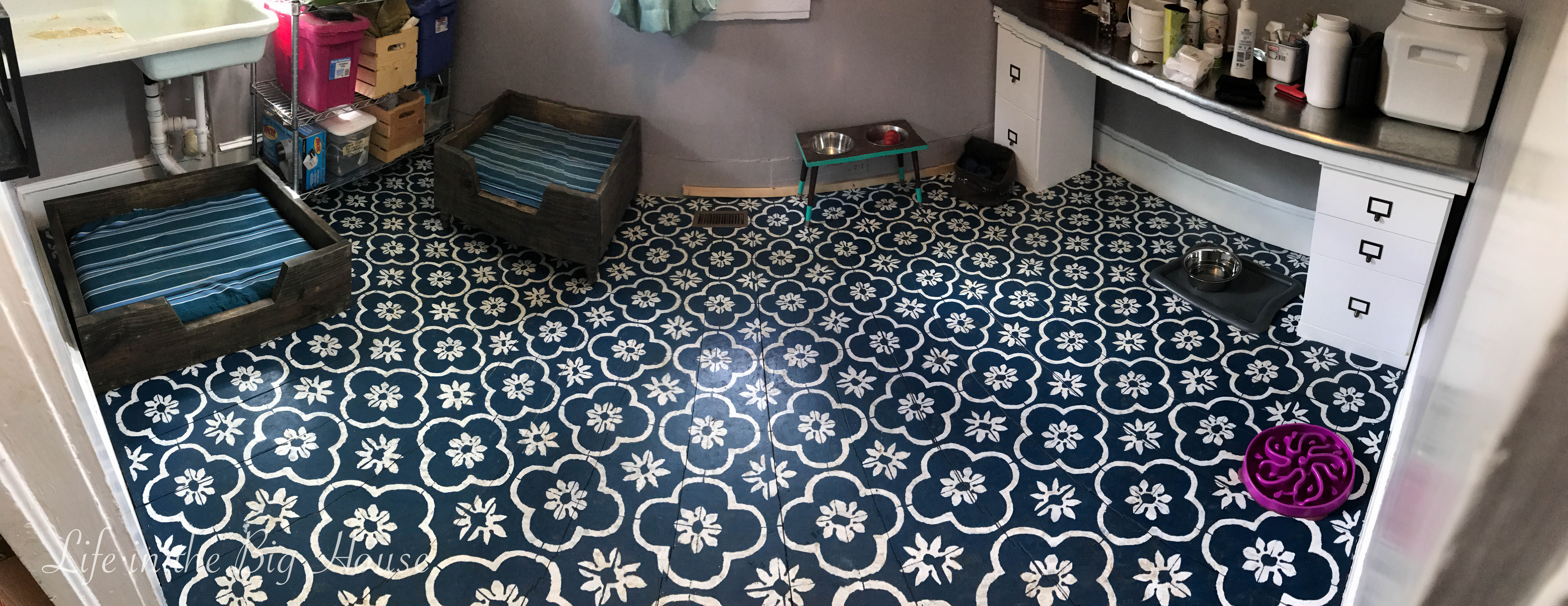 Painted Stenciled Plywood Flooring Brooke Life In The Big House Dirty Floor Pano