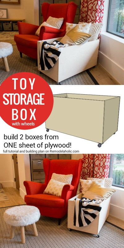 Plywood Rolling Toy Storage Box @Remodelaholic