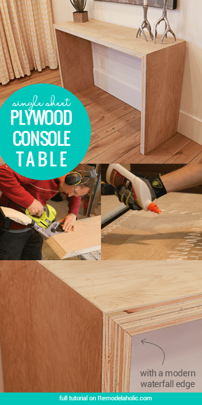 DIY Single Sheet Stacked Plywood Console Table With Modern Waterfall Edge   Free tutorial and building plan #plywoodpretty