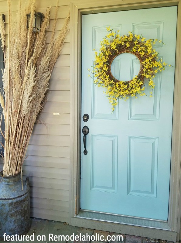 Beautiful Front Door Color Featured On Remodelaholic.com