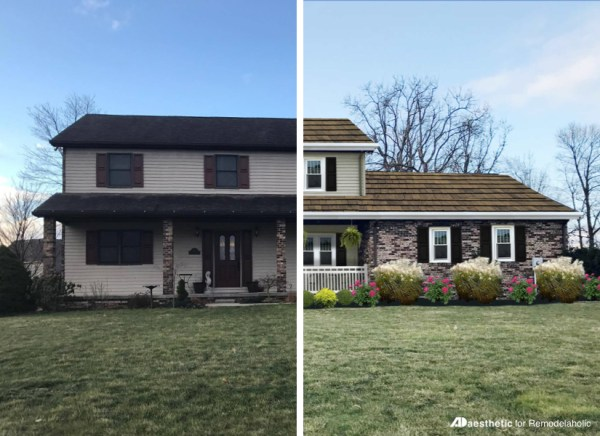 Adding curb appeal to a two story home | Virtual home makeover by AD Aesthetic on Remodelaholic.com