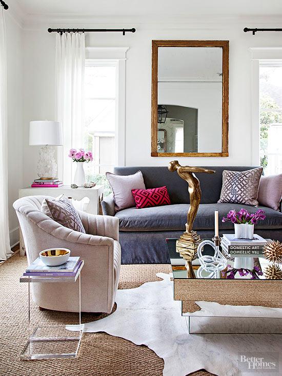 Glam Living Room Via Better Homes & Gardens