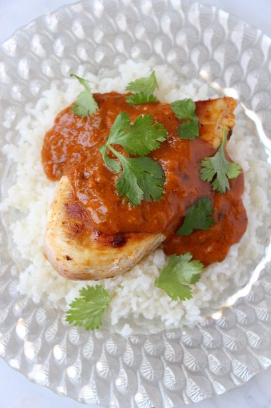 A simple and quick dinner recipe for 10 minute butter chicken via Remodelaholic.com