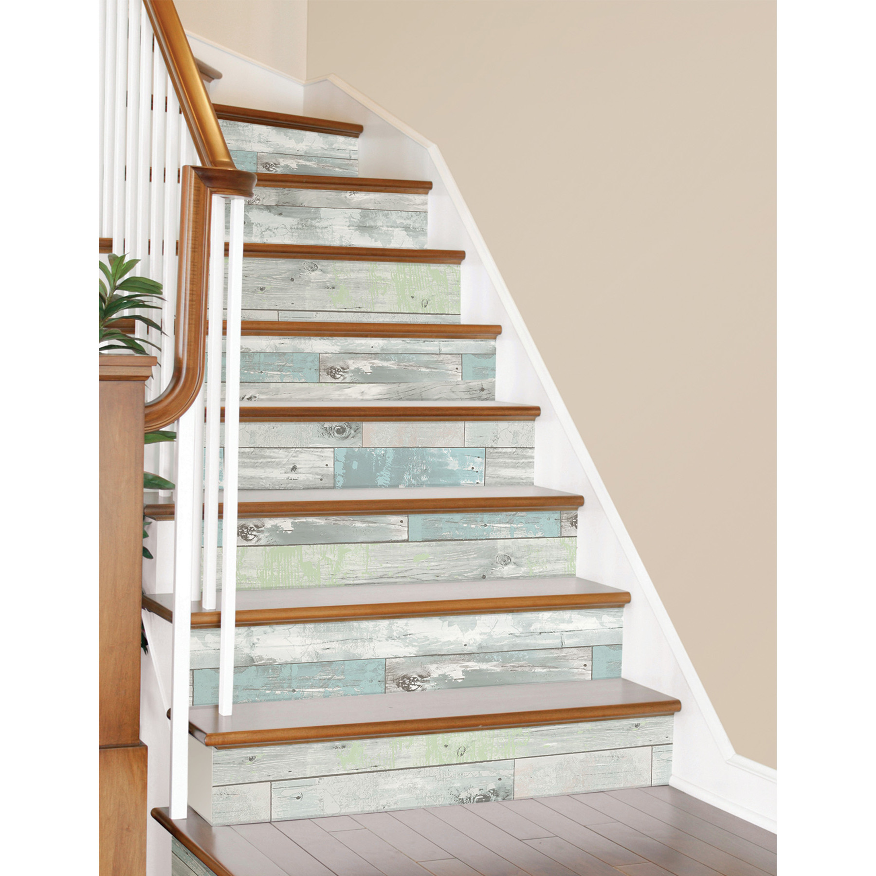 Removable Wallpaper With Beachwood Appearance On Staircase