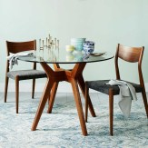 Coastal Dining Room Round Glass Wood Dining Table